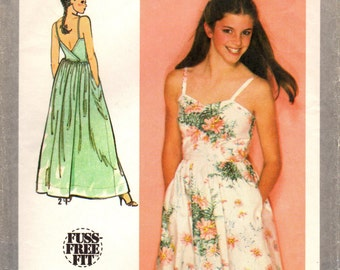 1980s Simplicity 9459 Vintage Sewing Pattern Young Junior/Teen Back Wrap Dress, Sundress Size 9/10 Bust 30-1/2