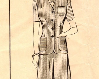 1940s Mail Order WS7 Vintage Sewing Pattern Misses Jacket and Skirt Size 14 Bust 32