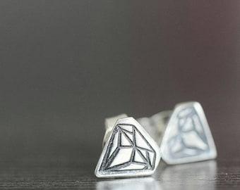 Diamond stud earrings Geometric studs earrings in sterling silver post earrings gifts for her