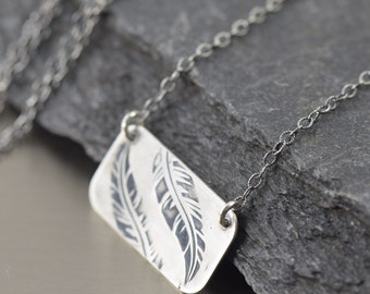 Silver Feather necklace boho necklace nature necklace
