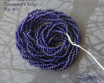 Size 18/0  Antique Micro Beads - Transparent Indigo Blue