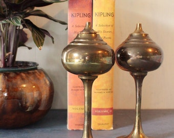 vintage lamps - brass oil lamps - set of 2