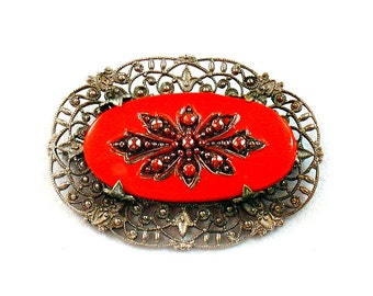Red Czech Glass Silvery Filigree Brooch Signed Impressed GRR Early to Mid 20th Century
