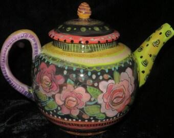 Gorgeous Roses On Charming Teapot