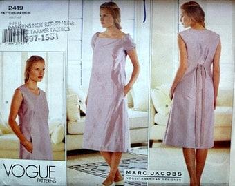Vogue 2419 Marc Jacobs American Designer Sewing Pattern, Misses' A-Line Dress, Size 8-10-12, Bust 31.5-32.5-34, Uncut FF, Summer Dress
