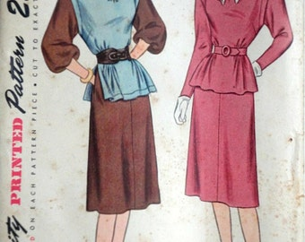 Vintage 40's Simplicity 1718 Sewing Pattern, Misses' One-Piece Dress With Lowered Armhole, Size 12, 30 Bust, FF, 1940's Fashion