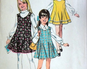 Vintage 60's Simplicity 8423 Sewing Pattern, Girls' Jumper, Retro Mod, Size 4, 1960's Fashion