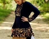 LillyAnnaLadiesApparel KIMBERLY Navy Leopard Hi Low Shirt Lala Modest