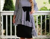 LillyAnnaKids Ladies Mandy Peplum Houndstooth Bow Shirt top LALA