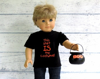 Boy Doll Clothes Halloween Tee Shirt, American Boy Doll Black T Shirt, Halloween Costume