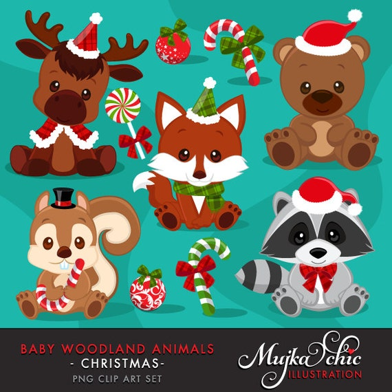 Christmas Baby Woodland Animals clipart. Baby fox Baby