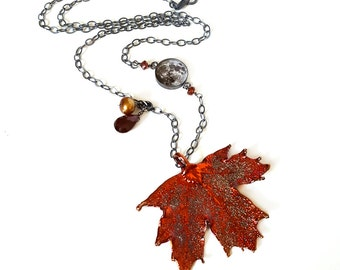 Fall Harvest Necklace, Real Leaf and Full Moon, Copper Plated Maple Leaf, Pearl, Garnet, Gemstone, Sterling Silver Chain, Autumn, Fall