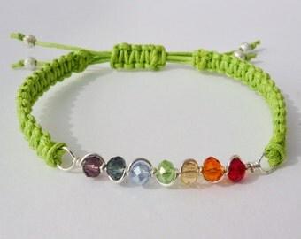 Gay Pride Rainbow Chakra Cotton Macrame Bracelet. Adjustable. Handmade. Choice of 17 Colours.