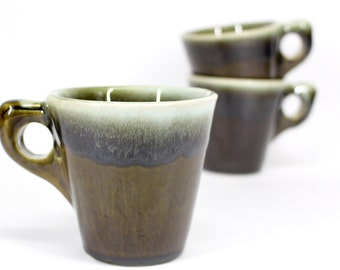 Vintage olive green drip mugs . Hull Pottery style . Super heavy duty utility coffee cups . 1970s awesome house warming gifts . Cabin camp