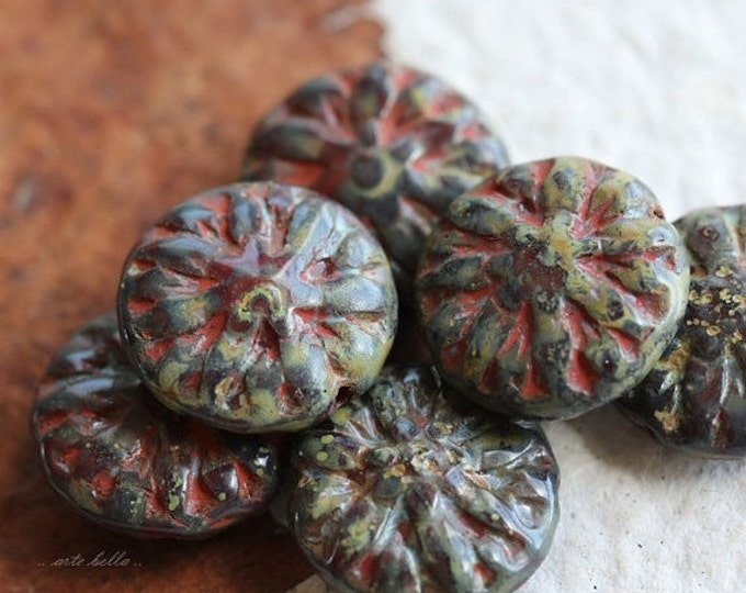 AUTUMN  DAHLIAS .. 6 Picasso Czech Glass Flower Beads 14mm (5063-6)