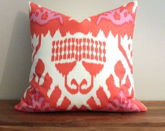 "22"" Designer Pillow Cover in Quadrille Kazak Ikat in Magenta and Orange"
