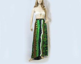 Vintage Skirt 70s Maxi Green Yellow Blue Barkcloth Hawaiian Tiki Print