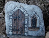 LITTLE CASTLE DOOR- Hand painted rock for the porch or garden. Can be personalized.