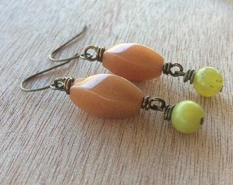 E512 Orange and Lime Sherbet Earrings