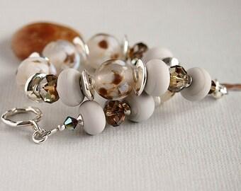 Grey Bracelet, Artisan Lampwork, Beaded Bracelet, Brown, Blue, Swarovski, Sterling Silver - SNOW GOOSE