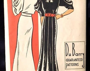 Rare 1930s UNUSED Dress Pattern Du Barry BUST 38 HIP 41 1334B Daytime Frock with Draped Elbow Length Sleeves 30s Art Deco Era