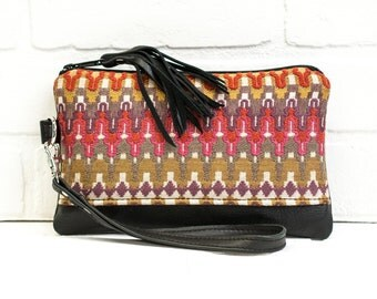 leather clutch, wrist clutch, navajo, wristlet, recycled leather, phone wallet, make up bag, handmade, upcycled, repurposed, stacylynnc