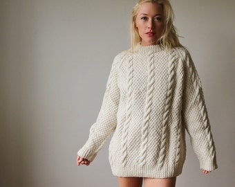 1980s Fishermans Cable Knit Sweater~Size Small to Extra Large