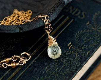 Rutilated Quartz, Rutilated Necklace, Quartz Jewelry, Gold Necklace, Quartz Pendant, PoleStar, Wire Wrapped, Gold Jewelry, Gold Filled