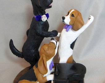 Custom clay sculpture Dancing Dogs Wedding Cake Topper Sculpture Black Labrador Beagle piano howling