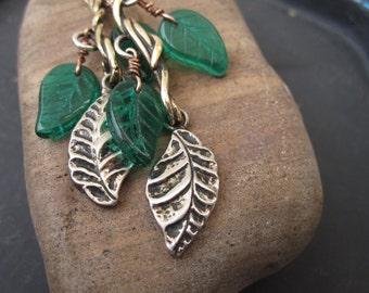 New Botanical funky long vine earrings with green glass leaves- casual date night dangle earrings