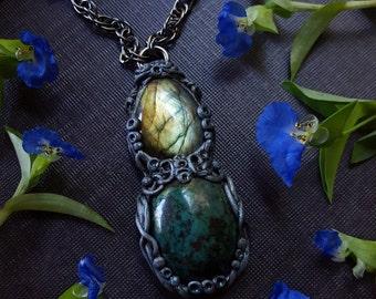 Labradorite Chrysocolla Necklace - Golden Green Labradorite with Chrysocolla - Iridescent Blue Green Crystal Pendant Necklace - Knossos