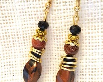 Brown/Black Spiral Drop Earrings