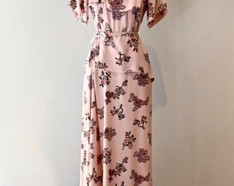 Vintage 1940's Rayon Novelty Print Dress ~ Vintage 40's Bird Print Rayon Crepe Evening Gown Size Large