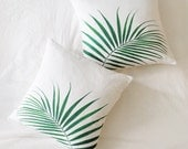 Palm Leaf Throw Pillow Cover // 18 inch // Green and White // Jungalow Style // Botanical Print // Linen Cotton Blend // Home Decor