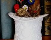 Milk Glass Top Hat Vase Daisy & Button, planter novelty, white