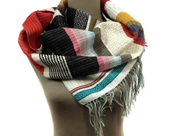 Camilla | Handwoven Gifts for Him | Red Striped Woven Scarf | Men's Modern Luxury Fashion | Loom Striped Accessory | Sophisticated Gift | H9