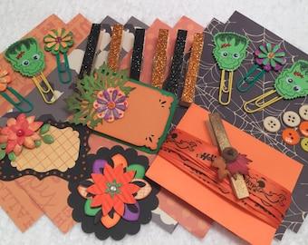 Paper Inspiration Kit, Scrapbook Embellishments, Halloween Mixed Media Supplies