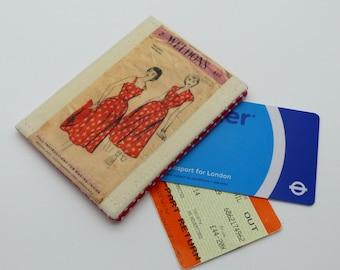 Oyster card holder, bus pass holder, travel card holder, wallet. Vintage dress pattern print . Card wallet, Oyster card wallet, credit card.