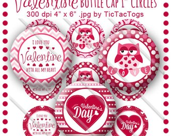 Valentine Bottle Cap Images II Set 1 Inch Circle 4x6 Digital Owl Sayings Pink Red Hearts - Instant Download - BC535