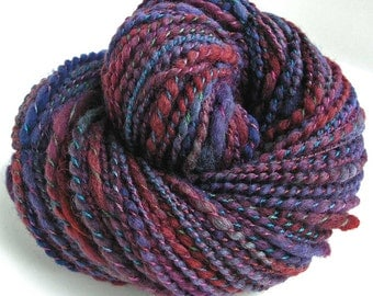 Handspun Hand Dyed Yarn BFL Wool Bulky Yarn 138 yards Handmade in USA by FiberFusion - Summer Berry