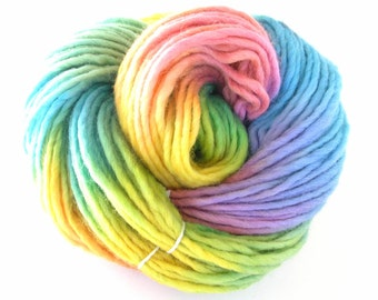 Bulky Yarn Hand Dyed Bulky Wool Yarn - Morning Rainbow