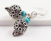 Bali Silver Earring/Sleeping Beauty Turquoise Earring/Sterling Silver Earring/Bali Silver Jewelry/999 Silver/Silver Jewelry/Balinese Beads