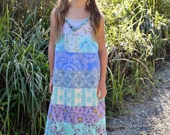 Girl's Maxi Dress, Sundress, Purple and blue Dress, Spring, flower girl, bohemian dress, infant dress, toddler dress, newborn through 6X
