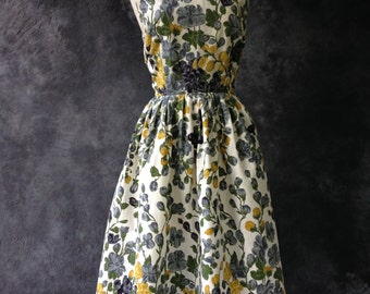 50's 60's floral cotton halter neck sun dress