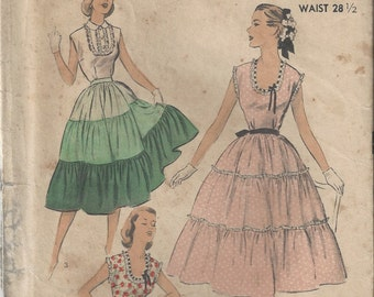 50s Advance 5867 Blouse and Tiered Skirt Sewing Pattern Size 17 B35 Patio Dress