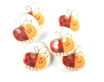 """6 SMALL Lady Bug or Lady Bird Buttons. Handmade Buttons.  Sewing, knitting or needle craft buttons. 1/2"""" or 13 mm."""