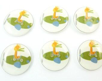 "6  Giraffe in Airplane Buttons.  Handmade Buttons.  Pilot Sewing Buttons. 3/4"" or 20 mm."