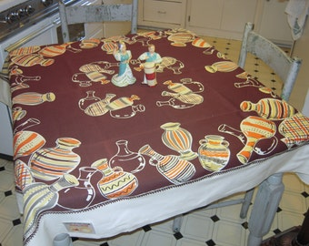 Vintage Tablecloth Dancing Fiesta Pottery MWT