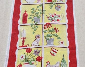 Vintage Towel Everything's in the Kitchen Window Geraniums Tea Pots