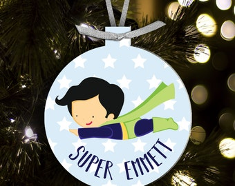 Super hero boy ornament - gift for superheros - kids superhero Christmas ornament SHCOB